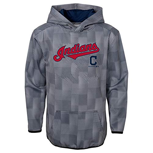(Outerstuff MLB Youth Performance Heather Gray First Pitch Pullover Sweatshirt Hoodie (Small 6/7, Cleveland Indians))