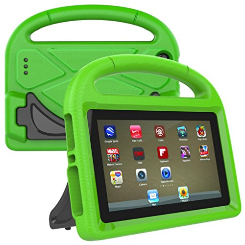 Sunfei for Amazon Kindle Fire HD 8 2017 7th,Sunfei Kids EVA Safe Rubber Stand Handle Case (Green)