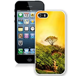 NEW Unique Custom Designed iPhone 5S Phone Case With Hill Top Tree Golden Light_White Phone Case