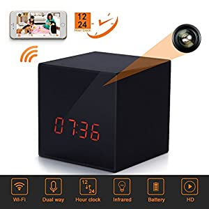LIZVIE GF-H100 Mini WiFi Spy Hidden Camera Clock With Night Vision ,10mtrs Fluent Detailed Video And Sound Remote Control for IOS and Android Smartphone