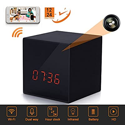 LIZVIE GF-H100 Mini WiFi Spy Hidden Camera Clock With Night Vision ,10mtrs Fluent Detailed Video And Sound Remote Control for IOS and Android Smartphone by Polaris