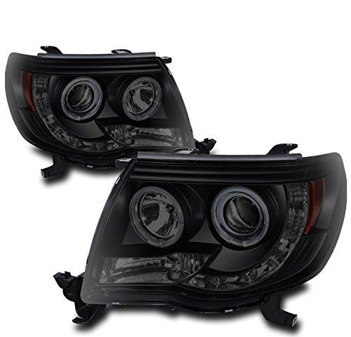 ZMAUTOPARTS Halo LED DRL Projector Headlights Headlamps Black/Smoke For 2005-2011 Toyota Tacoma Pickup