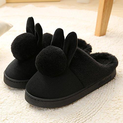 Cotone habuji inverno pacchetto al coperto con una spessa home piano antiscivolo carino home inverno pantofole pantofole uomini e donne, 36-37, B-nero