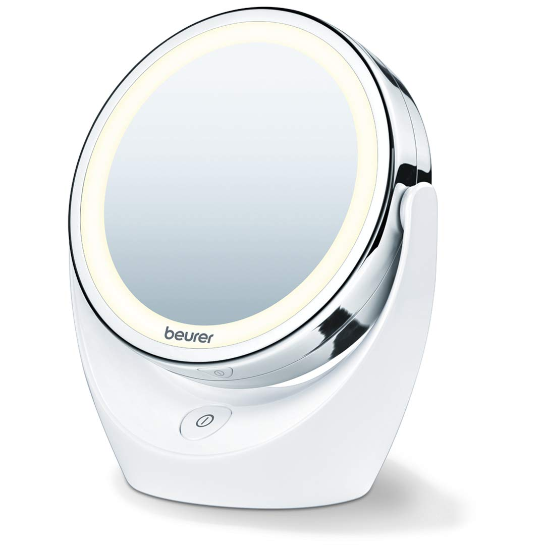 Beurer 5x Magnifying Double Sided Cosmetic Vanity Makeup Mirror Illuminated LED Lights, 360 Degree Swivel Rotation, BS49