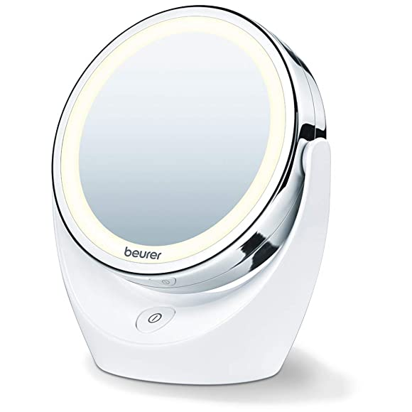 Beurer 5x Magnifying Double-Sided Cosmetic Vanity Makeup Mirror Illuminated | LED Lights | 360 Degree Swivel Rotation| Cordless | BS49