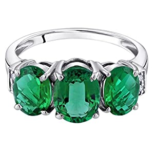 14K White Gold Diamond and Genuine or Created Gemstones Three Stone Triune Ring Sizes 5 to 9