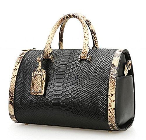 Mn&Sue Trendy Women's Crocodile Cobra Pattern Top Handle Purse Cross Body Boston Doctor Handbag - Handbag Boston Black