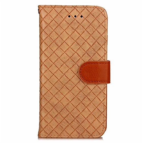 iPhone 7 Case Cover LifeePro [Anti-Scratch] Woven Pattern PU Leather Case Flip Stand Cover Wallet Card Slots with Photo Holder and Magnetic Closure for iPhone 7 Khaki