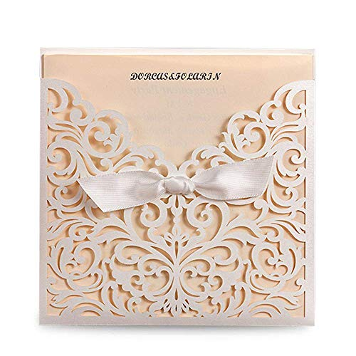 Wishmade 50x White Square Laser Cut Tri-fold Lace Wedding Invitations Cards with Bow Hollow Favors Invitations for Engagement Baby Shower Birthday Quinceanera(set of 50pcs) CW5002