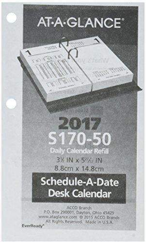 "AT-A-GLANCE Desk Calendar 2017 Refill, Daily, Financial, 3-1/2 x 6"" (S17050)"