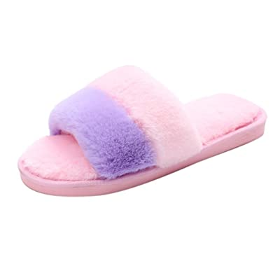 2017 Fashion Shoes With Diamonds,Kinghard Women's Flip Flop With Fluffy Faux Fur Flat SlipperWomens Ladies Slip On Sliders Fluffy Faux Fur Flat Slipper Flip Flop Sandal ,Rome Style(36-41)
