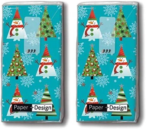 20 Taschentücher (2x 10) Taschentücher Weihnachtsbäume/Winter / Weihnachten