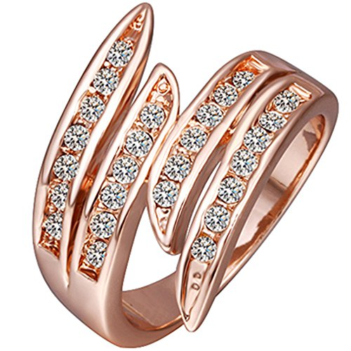 Gold Black Bands Eternity - BOHG Jewelry Womens Rose Gold Plated Cubic Zirconia CZ Crystal Angel Wings Eternity Ring Wedding Band Size 7