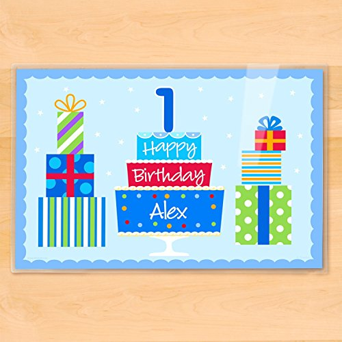 Happy Birthday Party Personalized Placemat - Blue