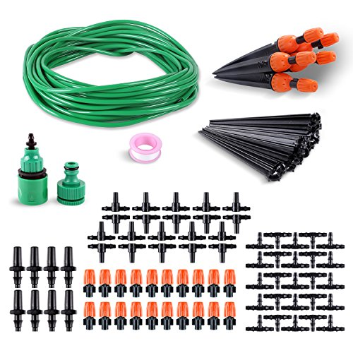 femor Watering Irrigation System Drip Kits, DIY Water Saving Irrigation Equipment Set with 66ft Premium Green Distribution Tubing Hose and Atomizing Nozzle Mister Dripper