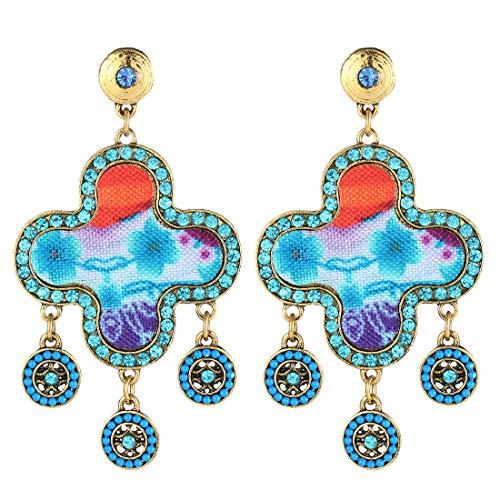 mohtasham National Style Wide Circle Glass Diamond Pendant Tassel Tragus Earrings Studs for Women Girls (Blue)
