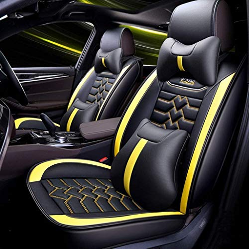 Seat covers for leather, 5-seat universal seat cushions for front seats and rear seats Seats Seat cover with cushions (color: yellow):