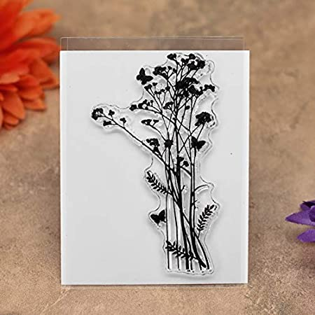 KWELLAM 6pcs//Lot Dandelion Lavender Flowers Leaves Mandarin Duck Stamp Rubber Clear Stamps for Photo Album Decorative Card Making and DIY Scrapbooking