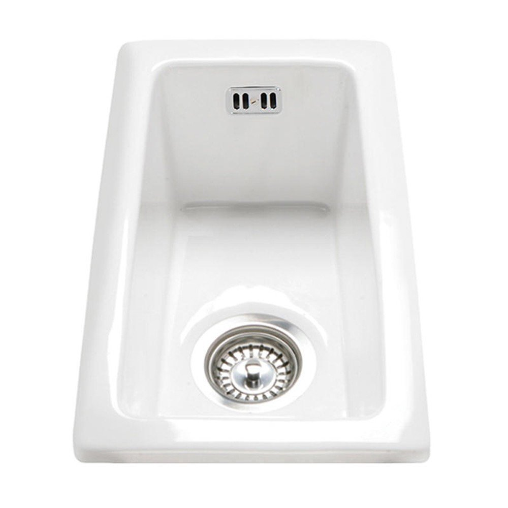 RAK Ceramics Gourmet Sink 7 Inset//Undermount 0.5 Bowl White Ceramic Kitchen Sink
