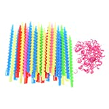 Beautyflier Pack of 35 Inch 1/4 Inch Styling Plastic Spiral Hair Perm Rod Random Colors