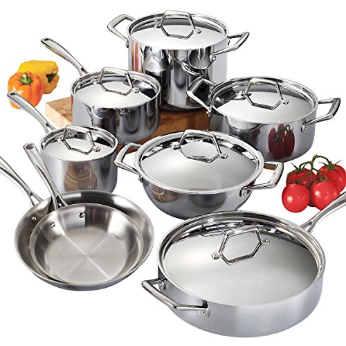 Tramontina Premium 14-piece Stainless Steel Tri-Ply Clad Cookware Set with Ergonomic and Riveted Cast Stainless Steel Handles,Superior Performance on Induction,Gas,Electric and Ceramic Glass Cooktops
