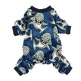 Fitwarm Shark Pet Clothes for Dog Pajamas Cat Jumpsuit PJS Apparel Lightweight Velvet Blue Large