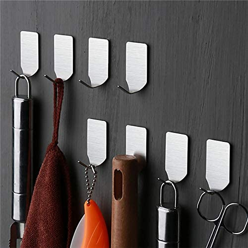 Self Adhesive Hooks,Stainless Steel Wall Hanger for Robe, Coat, Towel, Keys, Bags, Home, Kitchen, Bathroom,Waterproof, No Drill Glue Needed (10Pack)