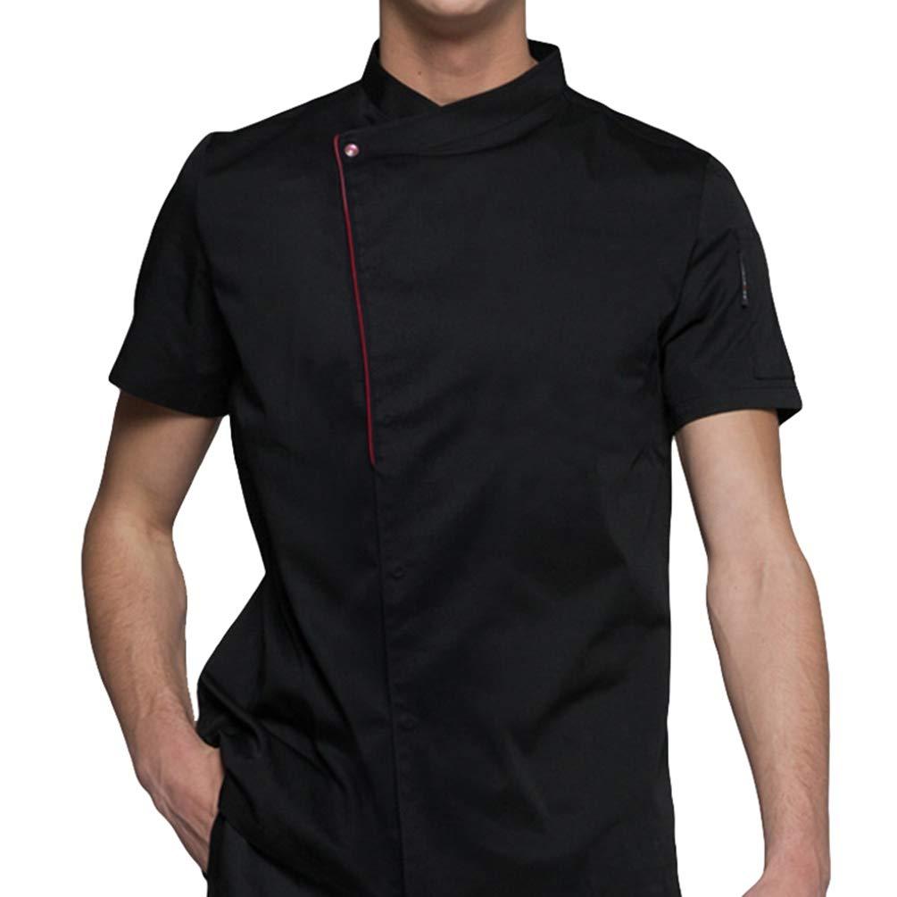 Dexinx Uomini Chefs Elegante Cappotto del Rivestimento Uniforme albergo Cucina Maniche Corte qualità Cook Workwear