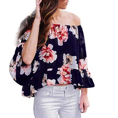 Transer ® Chemisier Femme,Femmes Sexy Casual épaule Off manches longues trompette manches Fleur Imprimé T-Shirt Blouse Multicolor(S-XL)