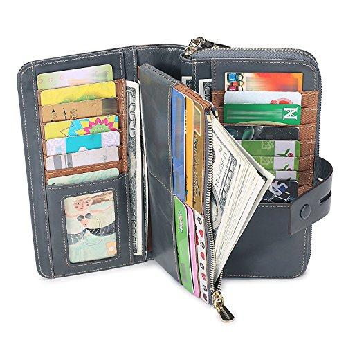RFID Blocking Large Capacity Genuine Leather Clutch Zip Wallet Card Holder Organizer checkbook holder Ladies Purse(Waxed Gray Blue) ()