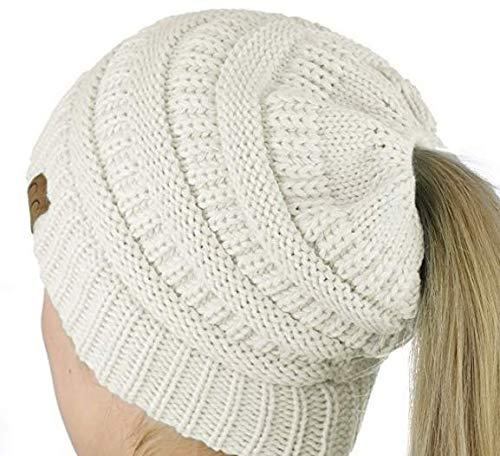 98de48573 CC Quality Knit Messy Bun Hat Beanie - Buy Online in Oman. | Hi ...