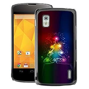 A-type Arte & diseño plástico duro Fundas Cover Cubre Hard Case Cover para LG Nexus 4 E960 (Christmas Tree Winter Neon Colors Dark)