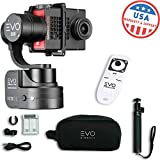 Evo SS 3 Axis Wearable Gimbal - Stabilizer for GoPro Hero4, Hero5, Hero6 Black, Yi 4K+, Garmin Virb Ultra 30-1 Year USA Warranty | Bundle Includes: Evo SS Gimbal + Extra Batteries + Wireless Remote