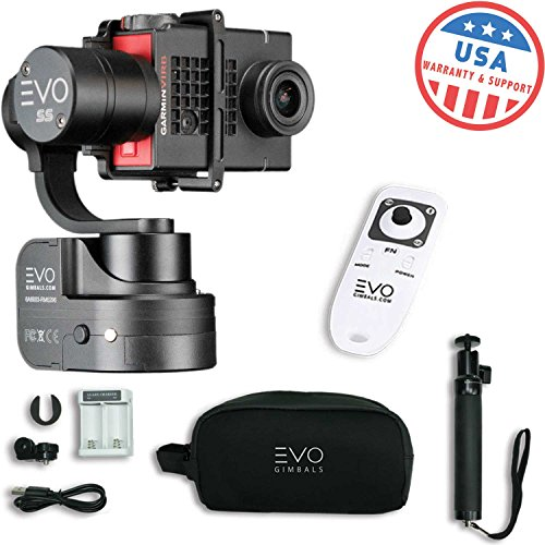 EVO SS 3 Axis Wearable Gimbal - Stabilizer for GoPro Hero4, Hero5, Hero6 Black, Yi 4K+, Garmin Virb Ultra 30 - 1 Year USA Warranty | Bundle Includes: EVO SS Gimbal + Extra Batteries + Wireless Remote