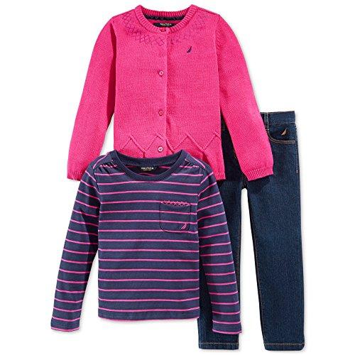 Nautica 19303155 3Pc Set - 7Gg Cotton Sweater with Sequin Details Yarn Dye Stripe Top and Denim Pant, Medium Pink, (Jean Stripe Sweater)