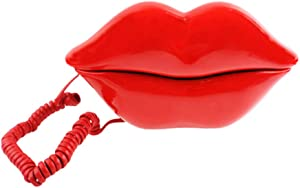 TelPal Red Mouth Telephone Wired Novelty Sexy Lip Phone Gift Cartoon Shaped Real Corded Landline Home Office Phones Furniture Decor