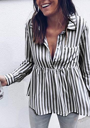 Ysfu Ufficio Donna Camice Abbigliamento Bluse Camicie Top Righe Camicetta Slim A Da SqrSp