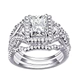 Newshe Woman 3pcs 2.5ct White AAA Cz 925 Sterling Silver Wedding Engagement Ring Set Size 7