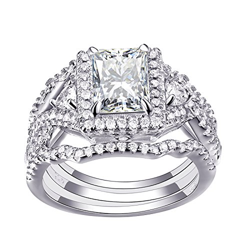Newshe Woman 3pcs 2.5ct White AAA Cz 925 Sterling Silver Wedding Engagement Ring Set Size 7 by Newshe Jewellery