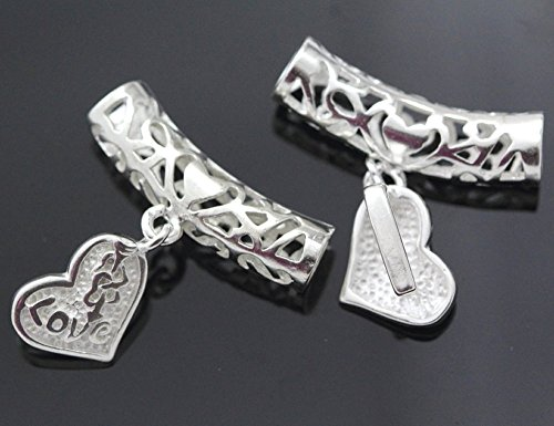 5pcs Tube Spacer 27x7mm Heart-Shaped Pendant Bail Sterling Silver Plated ()