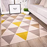 The Rug House Milan Ochre Mustard Yellow Gray Beige Harlequin Triangles Traditional Living Room Rug 6'3″ x 9'3″ For Sale