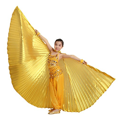 MUNAFIE Halloween Costumes Belly Dance Isis Wings for Children Kids Gold (With Sitcks and -