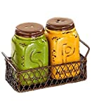 Country Rooster Kitchen Decor Yellow Green Salt N Pepper Shaker Set Chicken Wire Basket Holder Primitive Mason Jar Tuscan French Country Kitchen Decor by KNL Store