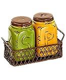 Primitive Kitchen Decor Yellow Green Salt N Pepper Shaker Set Chicken Wire Basket Holder Primitive Mason Jar Tuscan French Country Kitchen Decor by KNL Store