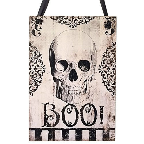 Halloween Sign Scary Skull Wooden Hanging Sign Door Hanging Sign for Halloween Party