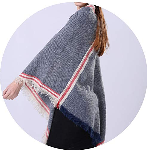 Women Luxury Pashmina Scarves Cashmere Shawl Grey Navy Winter Ponchos and Capes Female Knitted Scarf&Wraps ()
