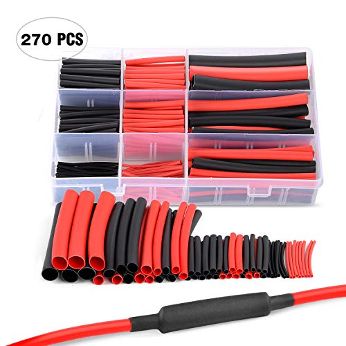 Nilight 270 pcs 3:1 Dual Wall Adhesive Heat Shrink Tubing kit, 6 Sizes(Dia): 1/16