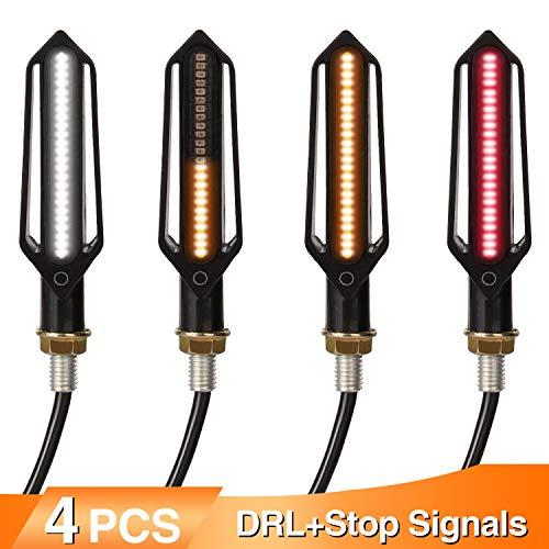 Yizhet 4 stks Vloeiende Motorfiets Indicatoren Motorfiets 24 LEDs Richtingaanwijzer Verlichting Waterdichte 12 V…