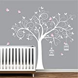 Wall Decals-Wall Stickers-Tree Decal with Birds,BirdCages-Nursery Wall Decals-Wall Stickers-Wall Art-Girls Nursery Decor
