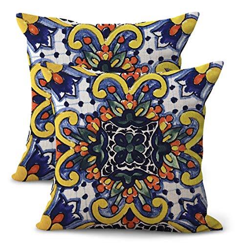 WholesaleSarong Set of 2 Mexican Majolica Talavera Cushion Cover Decorative Throw Pillow Cases Mexico Culture Indigenous Folk Art